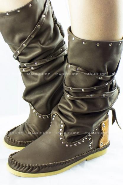 Высокие коричневые сапоги-мокасины Лилу с шнурком BRUNO